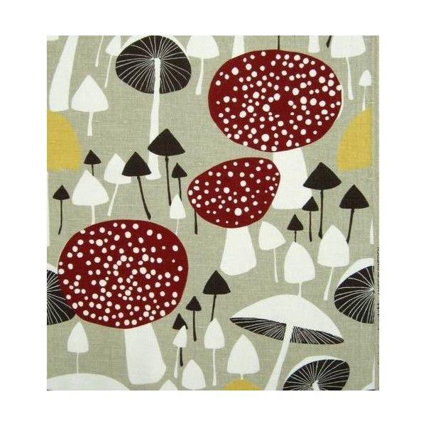 scandinavian 60s 70s print vtg design fabric Wild Mushroom Almedahls DIY cushion found on Polyvore