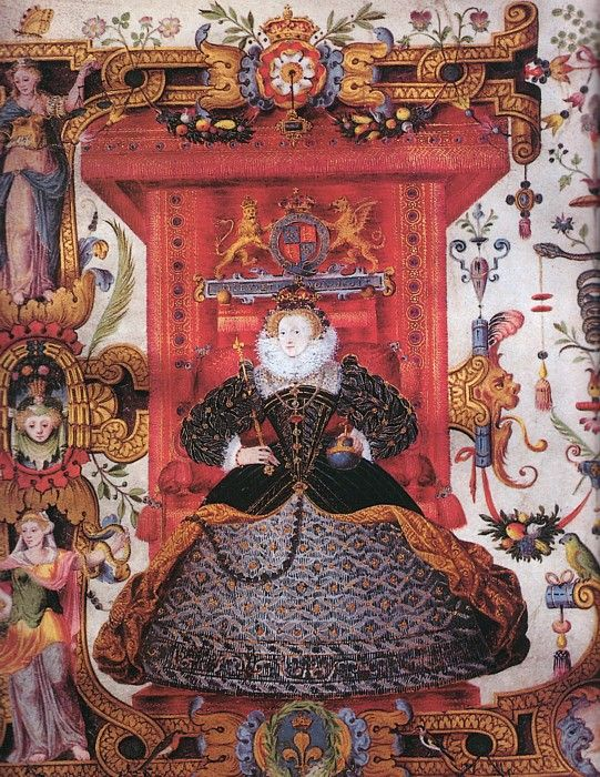 Detail of an enthroned Queen Elizabeth from a charter for Emmanuel College, Cambridge. By an unknown artist, circa 1584.
