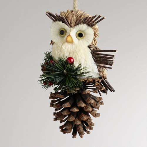 One of my favorite discoveries at WorldMarket.com: Natural Fiber Owl on Pinecone Ornament