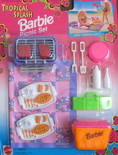 """Tropical Splash BARBIE PICNIC Set w Tropical Scent! (1994 (Arcotoys, Mattel) by Arcotoys, Mattel. $29.00. Tropical Splash Barbie Picnic Set is a 1994 Arcotoys, Mattel production. Includes: purple Barbecue w/gray Grill & Shelf (the BBQ is approx. 3-3/4"""" incl. handles on either side x 2"""" x 1"""" high & that incl. the Grill Top, green Boombox is approx. 2-3/4"""" wide x 1"""" x 1/4"""" deep, orange Picnic Cooler w/pink Lid approx. 2-3/4"""" wide incl side handles x 2"""" high incl. top Lid x 1-..."""