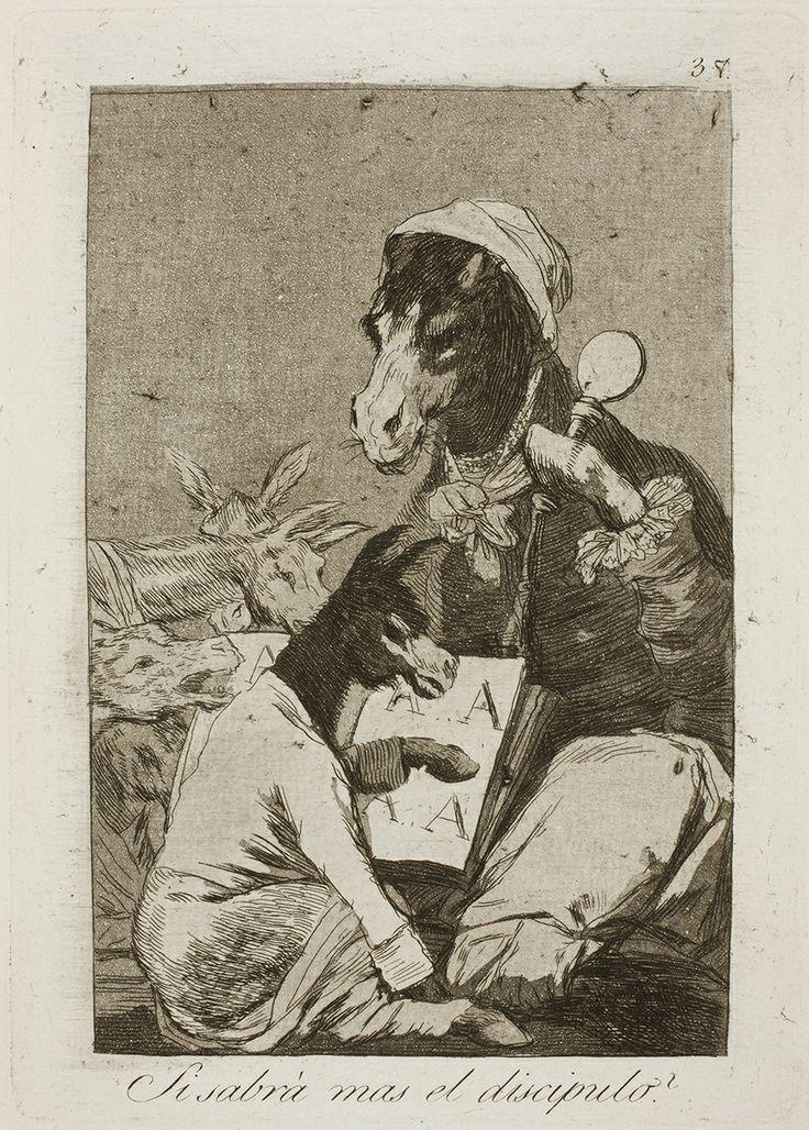 """Francisco de Goya: """"Si sabrá mas el discipulo?"""". Serie """"Los caprichos"""" [37]. Etching, aquatint and burin on paper, 213 x 151 mm, 1797-99. Museo Nacional del Prado, Madrid, Spain"""