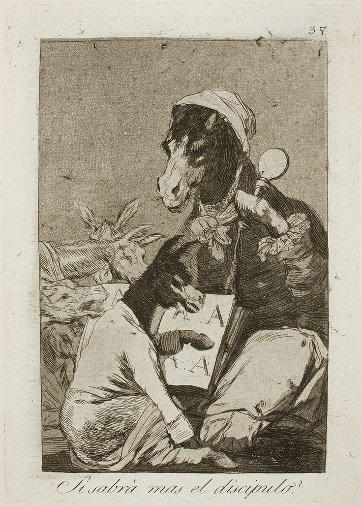 "Francisco de Goya: ""Si sabrá mas el discipulo?"". Serie ""Los caprichos"" [37]. Etching, aquatint and burin on paper, 213 x 151 mm, 1797-99. Museo Nacional del Prado, Madrid, Spain"