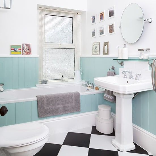 Photo Of Hexagon blue floor tile with white subway tile modern fresh bathroom tile by Fireclay Tile