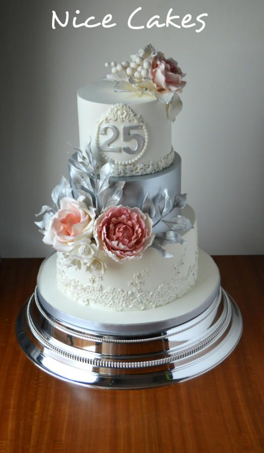 25th wedding anniversary by Nice Cakes - http://cakesdecor.com/cakes/297988-25th-wedding-anniversary