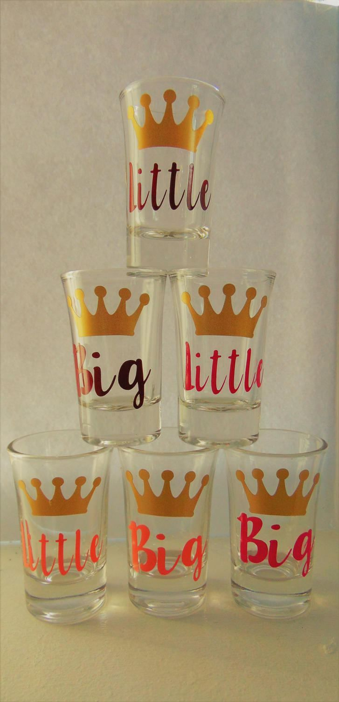 Big Little sister Sorority shot glasses, Big sister, lil sister, shot glasses, sorority sisters, sorority glass,Great Bid day gifts! by jdvinyl8714 on Etsy