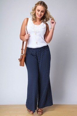 Women's Plus Size Palazzo Pants. http://www.delightfullycurvy.com/how-to-wear-plus-size-palazzo-pants/