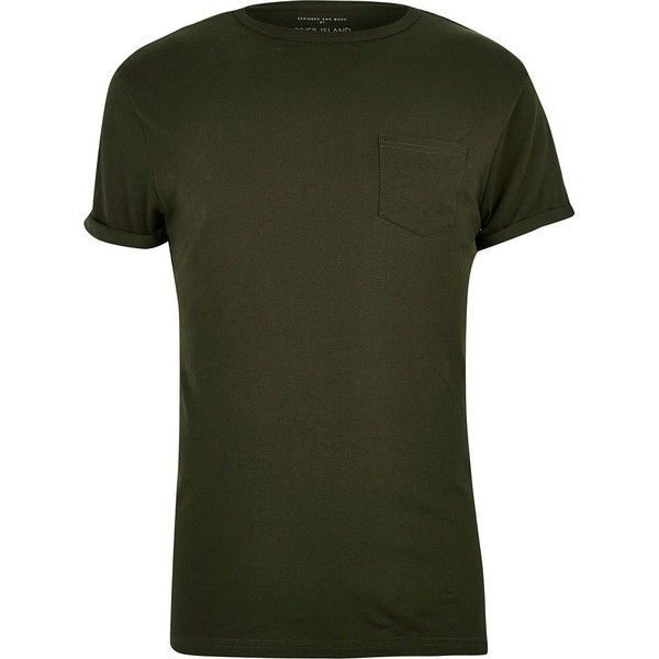River Island Big and Tall dark green crew neck T-shirt ($10) ❤ liked on Polyvore featuring men's fashion, men's clothing, men's shirts, men's t-shirts, green, big tall mens shirts, mens stretch shirts, mens short sleeve t shirts, mens green shirt and mens crew neck t shirts