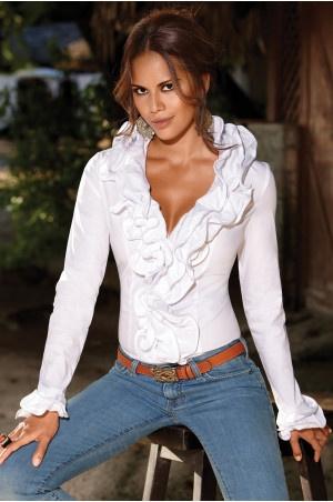 Dramatic ruffle-front blouse at Boston Proper