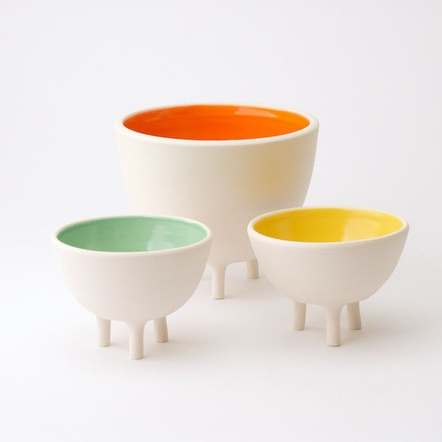 Large Tripot - From Portland design studio Pigeon Toe, an unglazed hand-sanded porcelain exterior set atop three tapered legs with a pop of glazed color on the interior.