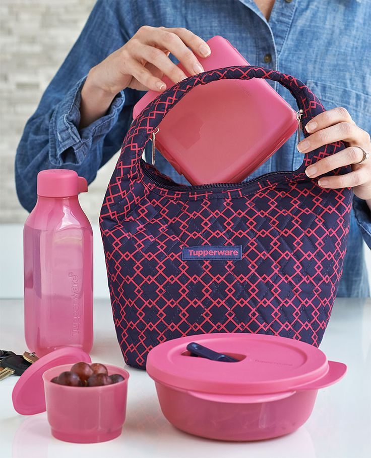 Pink Diamond Lunch Set. Includes insulated bag Q, CrystalWave® 2½-cup/600 mL Bowl, Sandwich Keeper, Snack Cup and 16-oz./500 mL Square Eco Water Bottle.