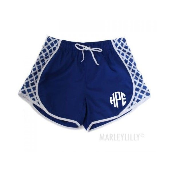 Monogrammed Shorts | Marleylilly ($40) ❤ liked on Polyvore featuring shorts and monogrammed shorts
