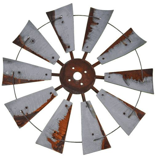 "30"" Rusty Windmill - FULL Hang this decorative rustic windmill fan on your wall to add some farm fresh flair to your home. Comes fully assembled and has a 30-inch fan diameter and 10 fan blades. SHIPP"