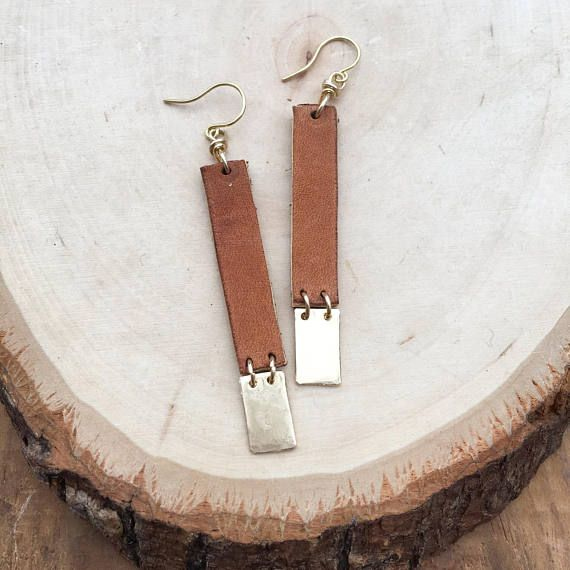 These casual earrings look so great with so many outfits! Handcrafted out of a tan, cognac leather and brass.