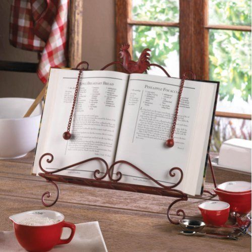 recipe book stand cook book holder support rooster kitchen page keeper chain - Recipe Book Holder