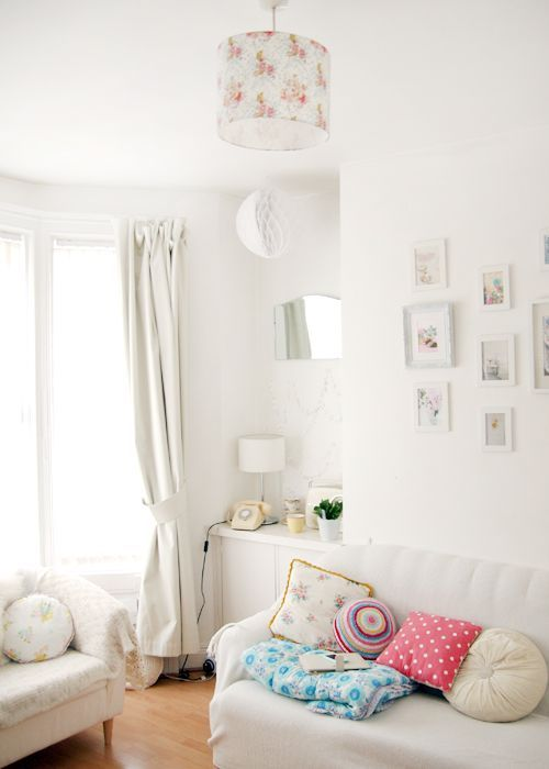 Vintage blankets, crochet cushions, Liberty of london lampshade and a pretty little gallery wall in my Living Room! Just a pretty pastel home design idea and maybe some sewing project inspiration! Perfect colours for your lounge, bedroom, nursery.. calm and bright