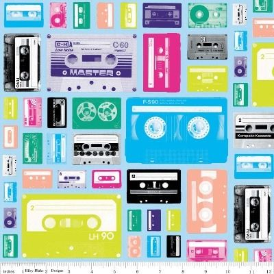 Riley Blake Fabric - Blue - Geekly Cassettes - 100% Cotton