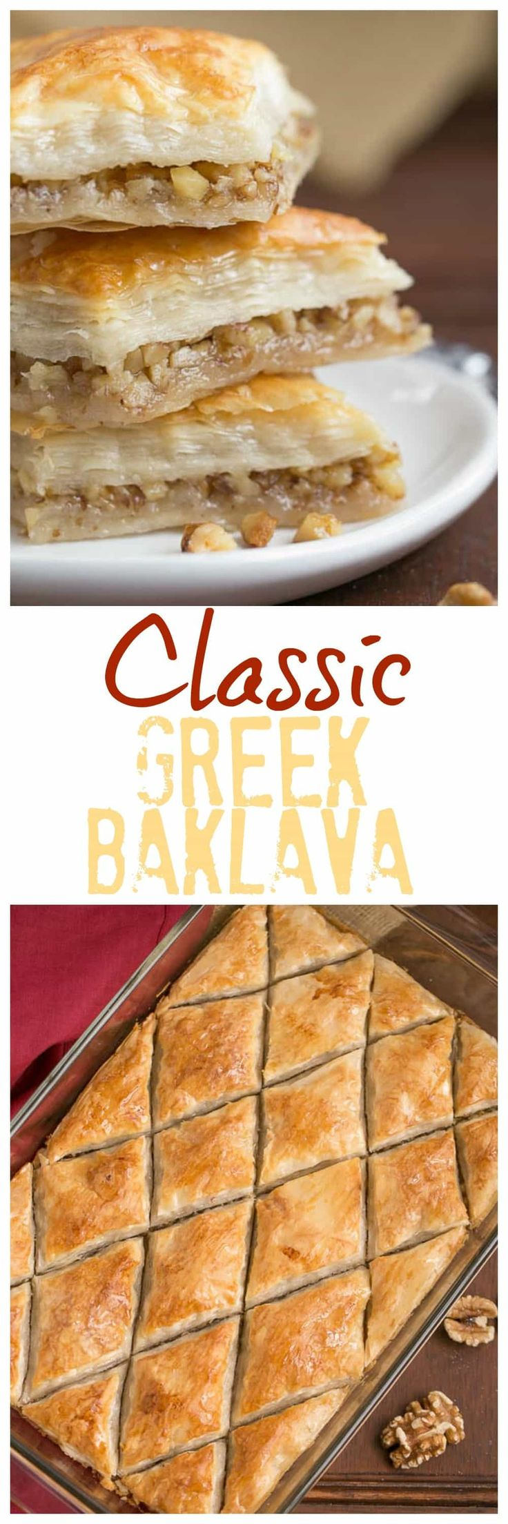 Gretchen's Classic Greek Baklava | My mom's baklava with layers of buttery filo & a walnut filling doused with orange blossom water kissed sugar syrup @lizzydo