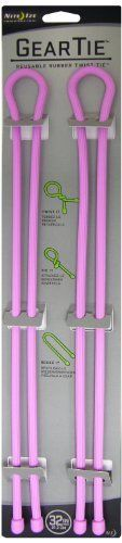 Nite Ize GT32-2PK-12 32-Inch Gear Tie, Pink, 2-Pack by Nite Ize. $9.57. From the Manufacturer                The perfect size for the biggest organizational jobs in your home, garage, garden, and tool shed, the Nite Ize 32-Inch Gear Tie wraps garden hoses, lawnmower and industrial vacuum cords and hoses, sleeping bags--all of the big stuff, in a cinch. Its flexibility (it has a sturdy, bendable interior wire and a durable, waterproof rubber exterior) make it endl...