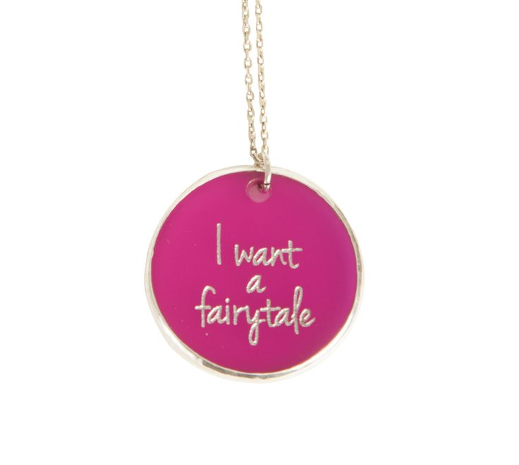 ''I want a fairytale '' Silver chain and plexiglass necklace