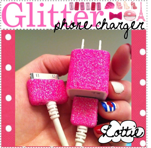 """Glitter phone charger!"" by the-diy-girls ❤ liked on Polyvore"