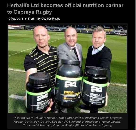 Herbalife become nutritional suppliers to the Osprey Rugby Team.  Herbalife 24 provides Sports Nutrition for the highest levels of fitness. www.sports-24hour.com