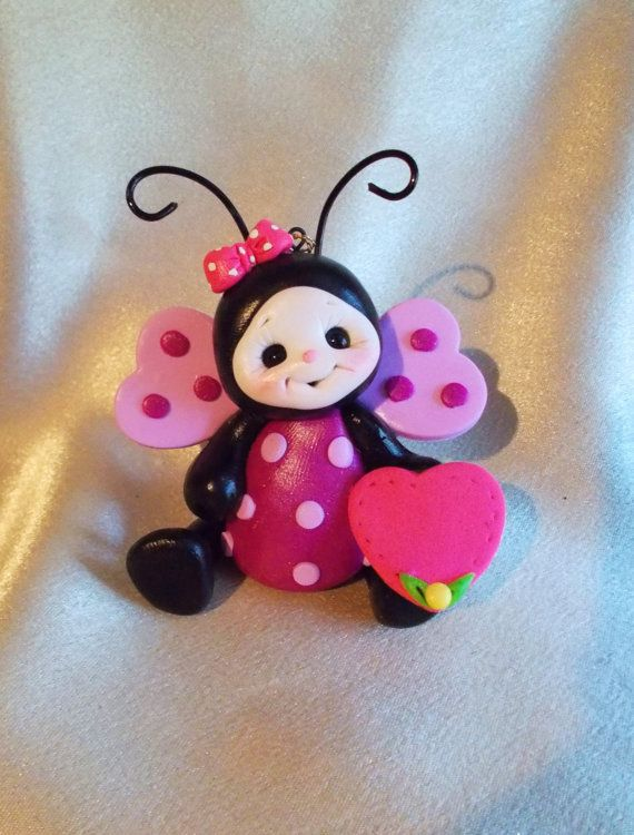 ladybug birthday cake topper Christmas ornament  by clayqts