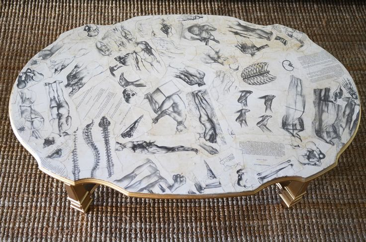 Decoupaged coffee table [Mr. Kate]