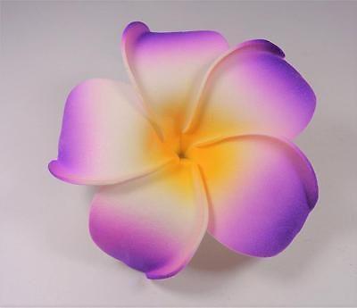 Hawaiian Wedding Aloha Flower Purple White And Yellow Plumeria Luau Hair Clip