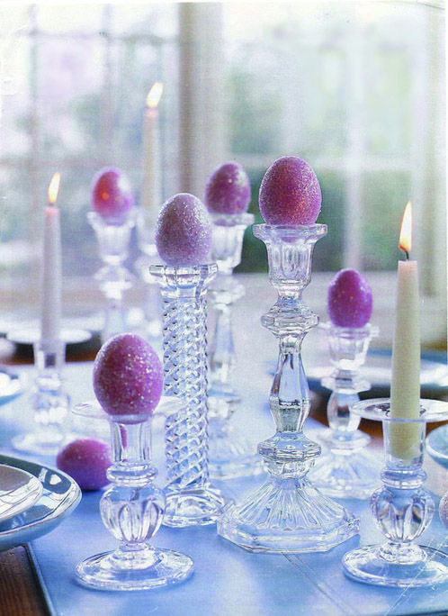 Easy Easter tablescape: Holiday, Candlesticks, Table Setting, Glitter Eggs, Easter Eggs, Easter Spring, Easter Ideas