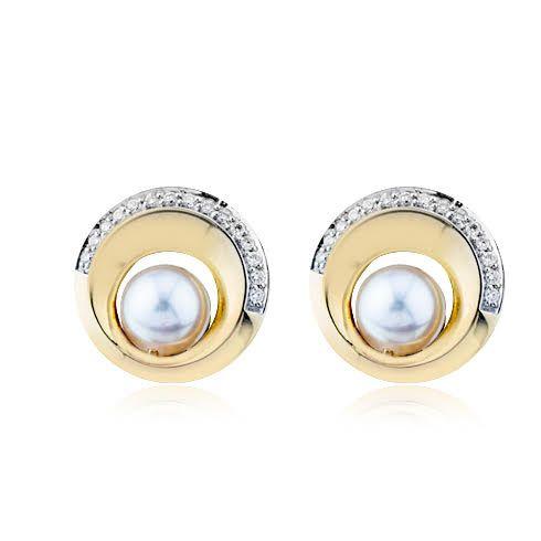 Cercei cu perle si diamante B807
