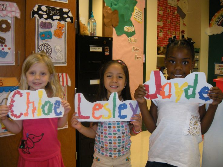 1st day of school - names with torn paper and would take them a little bit of time so you could put supplies away!