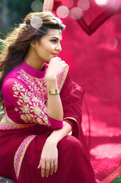Jacqueline Fernandes Pink Party Wear Saree