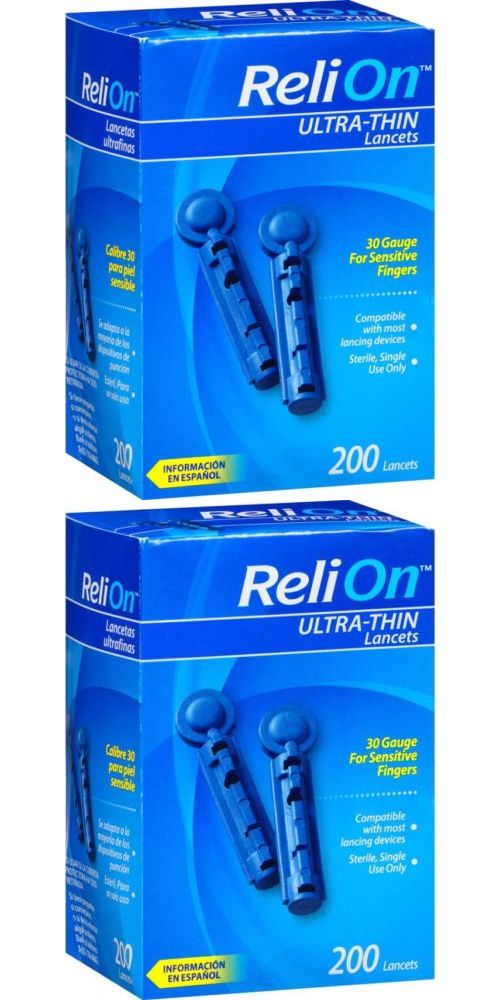 Lancets: Relion Ultra-Thin Lancets 30-Gauge Sensitive Fingers, 200 Pc For Lancing Devices BUY IT NOW ONLY: $66.8