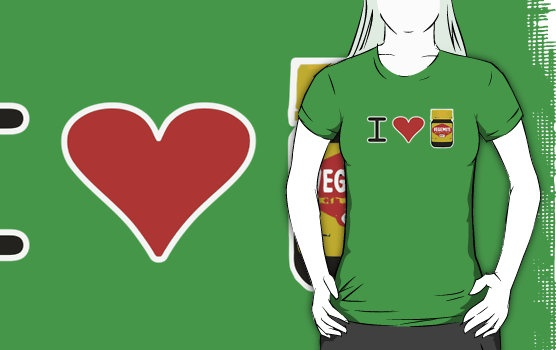 I Love Vegemite t-shirt by Adam de la Mare.   I grew up with Marmite in th UK, but when I moved to Australia… I was converted to Vegemite very quickly.  Now I feel like a True Australian!  Brother Adam t-shirts are available online at www.cnnt.biz ... The best place for funny, cool parody, geek, topical and just plain ridiculous t-shirts! Repinners... please provide a link back to the source as this is my livelihood. Thanks!