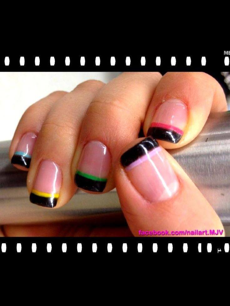 Uñas deco Frances negro, colores
