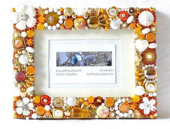 Bilderrahmen gold orange Holz Bilderrahmen Mixed Media Art