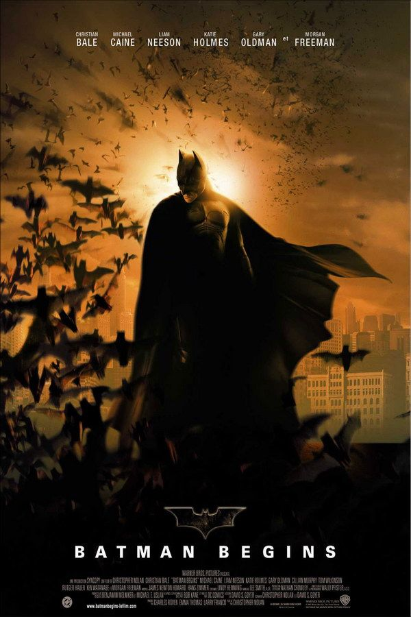 Batman Begins (2005) - After training with his mentor, Batman begins his fight to free crime-ridden Gotham City from the corruption that Scarecrow and the League of Shadows have cast upon it.