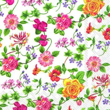 FLOWER POTPOURRI flowers traditional paper table napkins 20 in pack: Amazon.co.uk: Kitchen & Home