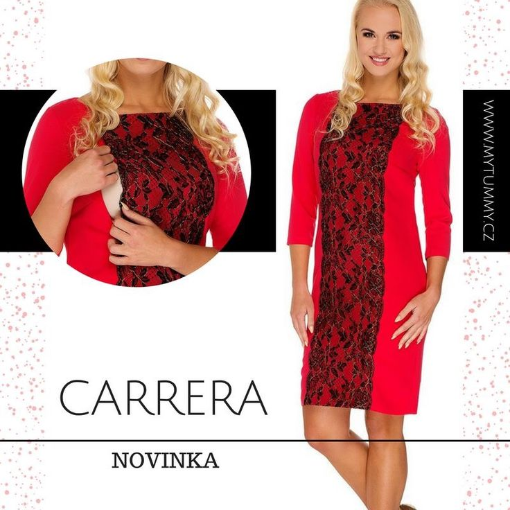 NOVÁ KOLEKCE PODZIM/ZIMA 2016/2017  Máme tu další novinku! Nádherné šaty CARRERA, které sází na lákavou kombinaci červeného odstínu s elegantní krajkou. Jejich charismatický vzhled si vás získá stejně rychle, jako promyšlený střih, který vám usnadní každé kojení :-)