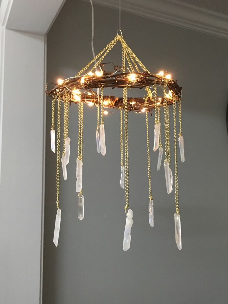 Crystal Mobile- Crystal Point Bohemian Mobile- Quartz Point Crystal Chandelier – Rustic Lighted Chandelier- Bohemian Home Decor- Wedding