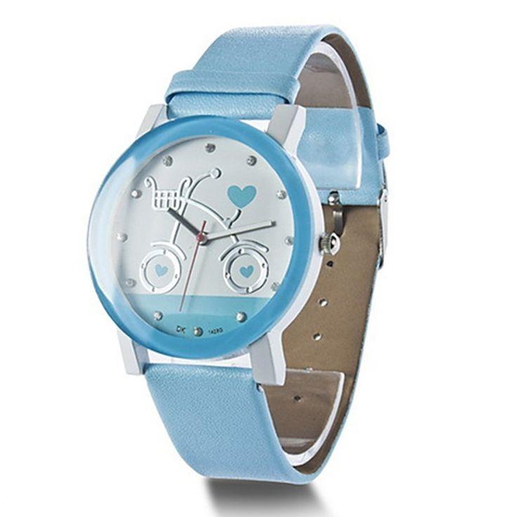 Armbanduhr in Fahrrad Pattern Damen Uhr Damenuhr Quartz Qurtzuhr Blau