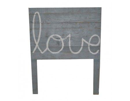 Cabeceira cinzenta cinza Love branca , Decoração infantil, madeira, Mamuky