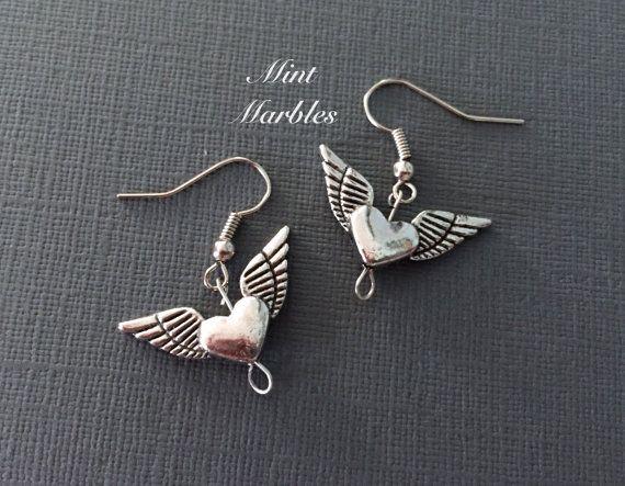 Heart with Wings Dangle Earrings. Love. Romantic. by MintMarbles