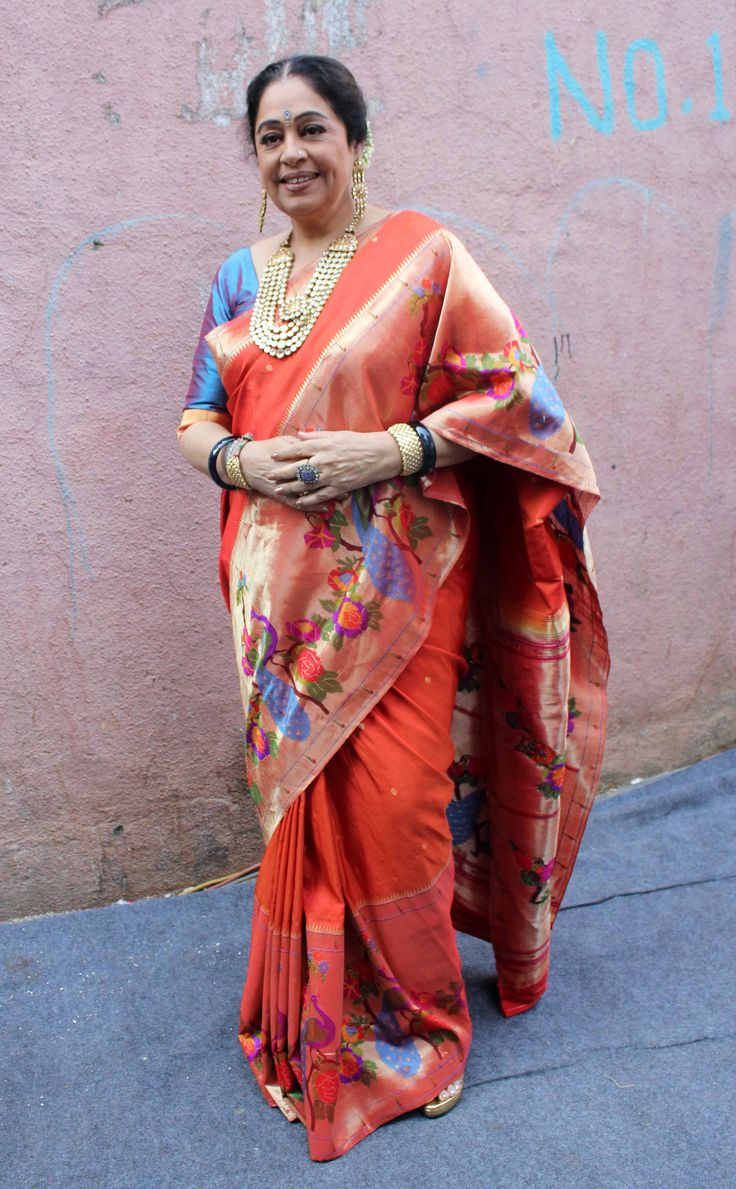 kirron-kher in a lovely paithani silk sari.