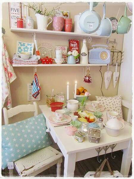A perfect pastel kitchen space