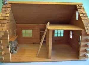 little house on the prairie miniature   Log Cabin Dollhouse 1 inch Scale Miniature Little House on the Prairie
