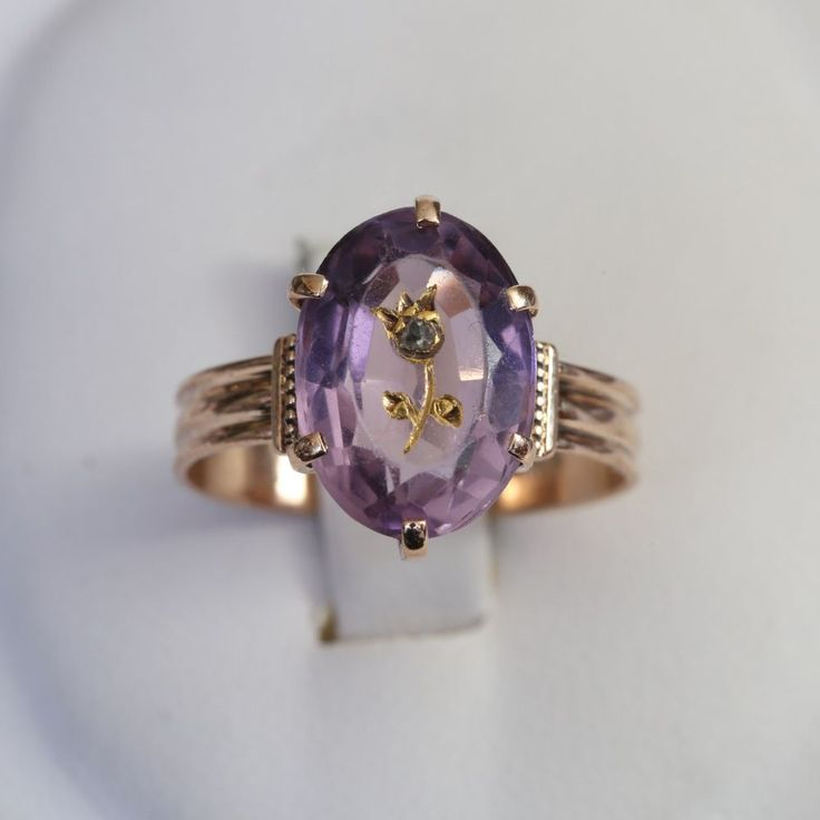 VICTORIAN ROSE de SHARON SOLID 14K ROSE GOLD AMETHYST RING, 2.9 gms.,size 7, VG+ #Unbranded #SolitairewithAccents