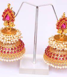 Buy Gorgeous antique royal huge kemp peralcluster  bridal jhumkkas jhumka online