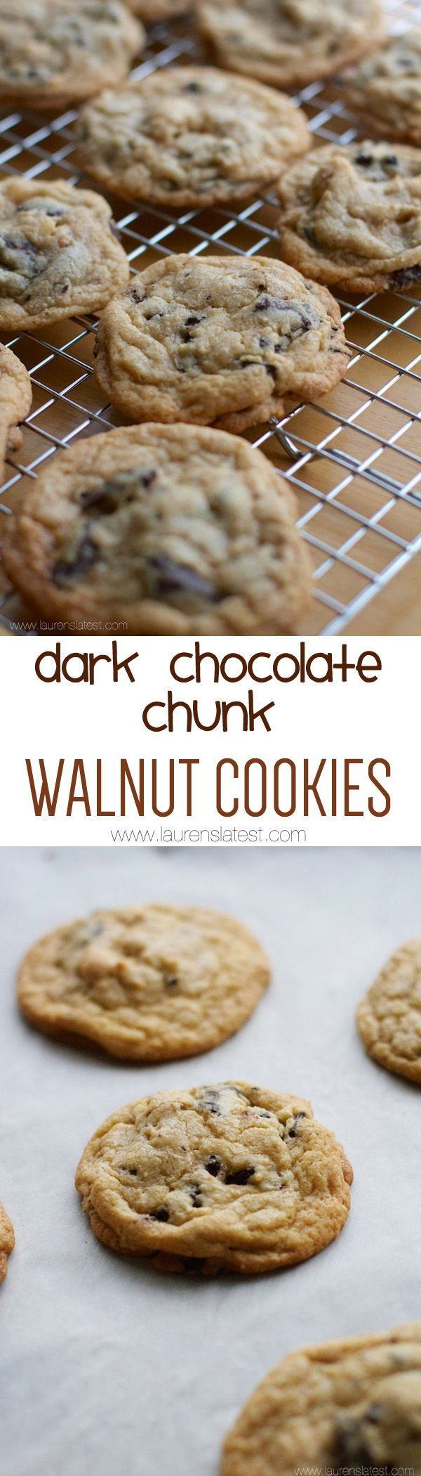 Dark Chocolate Chunk Walnut Cookies... Someone get me a cold glass of ...
