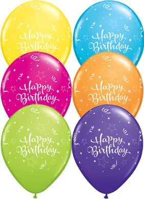 Our Birthday Shining Stars Balloons are large latex balloons in assorted bright colours. Inflate with air or helium for cheerful birthday party decorations.
